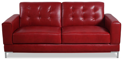 Myer Leather-Look Fabric Sofa - Red - Modern style Sofa in Red
