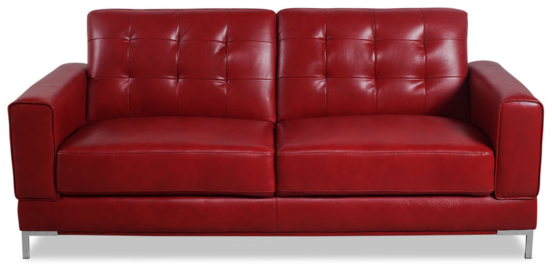 Myer Leather-Look Fabric Sofa - Red|Sofa Myer en tissu d'apparence cuir - rouge