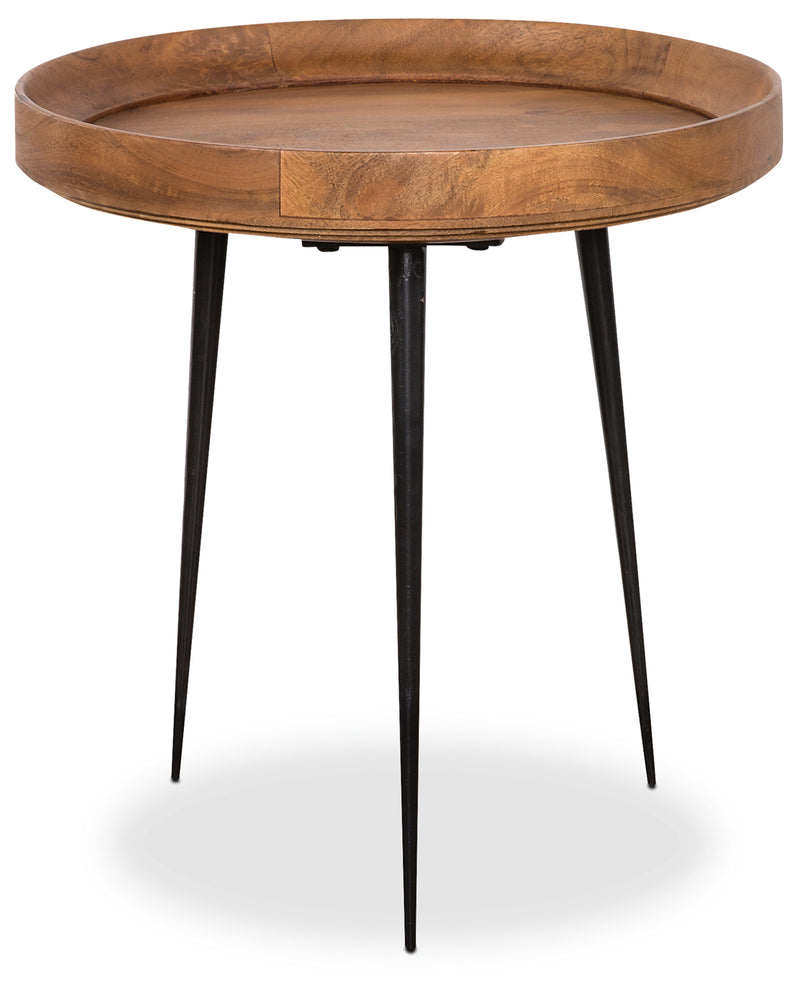 "Nashik 20"" Accent Table - Retro style End Table in Brown Mango Wood and Metal"