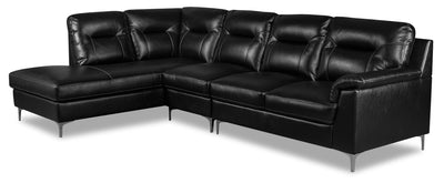 Nash 3-Piece Leather-Look Fabric Left-Facing Sectional - Black|Sofa sectionnel de gauche Nash 3 pièces en tissu d'apparence cuir - noir|NASBKSL3