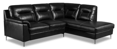 Nash 2-Piece Leather-Look Fabric Right-Facing Sectional - Black - {Modern} style Sectional in Black {Plywood}, {Solid Woods}