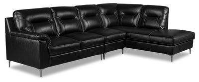 Nash 3-Piece Leather-Look Fabric Right-Facing Sectional - Black|Sofa sectionnel de droite Nash 3 pièces en tissu d'apparence cuir - noir|NASBKSR3