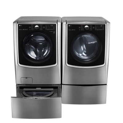 LG TWIN Wash™ 6.0 Cu. Ft. Washer, Pedestal Washer and 9.0 Cu. Ft. Electric Dryer – Graphite Steel - Laundry Set in Graphite