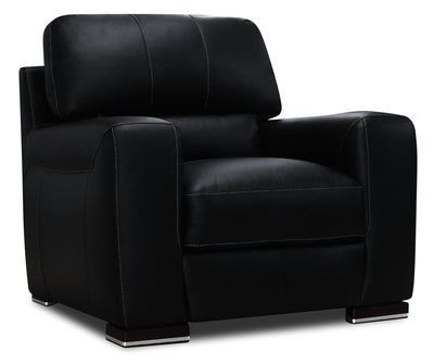 Nile 100% Genuine Leather Chair - Black|Fauteuil Nile en cuir 100 % véritable - noir|NILEBKCH