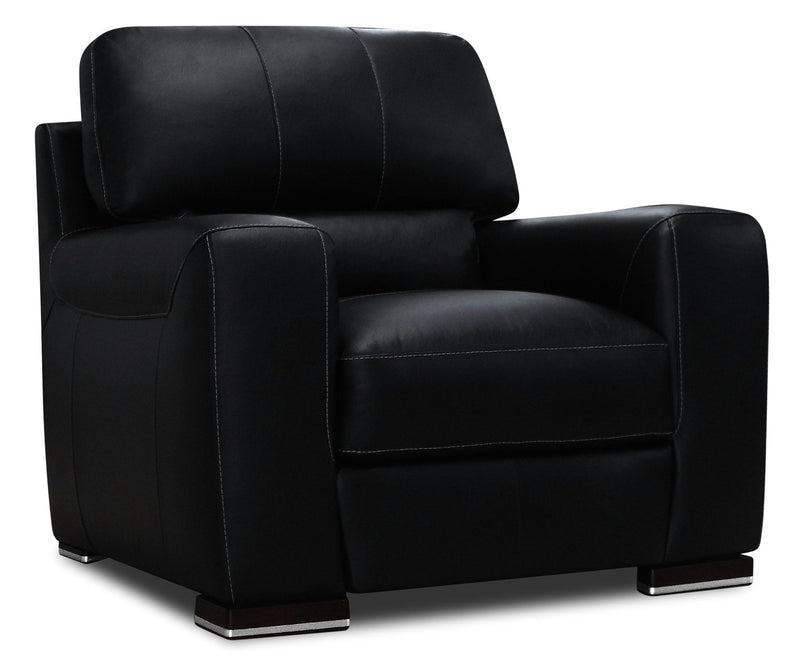 Nile Genuine Leather Chair - Black|Fauteuil Nile en cuir véritable - noir|NILEBKCH
