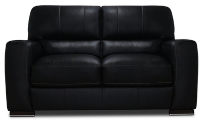Nile 100% Genuine Leather Loveseat - Black|Causeuse Nile en cuir 100 % véritable - noire|NILEBKLV
