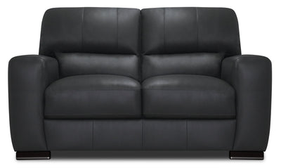 Nile 100% Genuine Leather Loveseat - Grey|Causeuse Nile en cuir 100 % véritable - grise|NILEGYLV