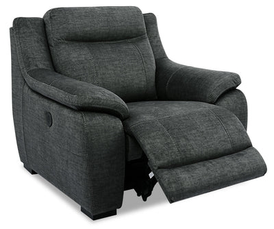 Novo Fabric Power Recliner - Grey - {Contemporary} style Chair in Grey {Solid Hardwoods}