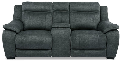 Novo Fabric Power Reclining Loveseat - Grey - {Contemporary} style Loveseat in Grey {Solid Hardwoods}