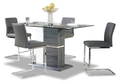 Nyle 5-Piece Counter-Height Dining Package - {Modern} style Dining Room Set in Grey and White {Metal}, {Solid Woods}