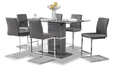 Nyle 7-Piece Counter-Height Dining Package - {Modern} style Dining Room Set in Grey and White {Metal}, {Solid Woods}