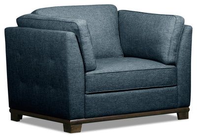 Oakdale Linen-Look Fabric Chair - Blue - {Contemporary} style Chair in Blue {Pine}, {Plywood}