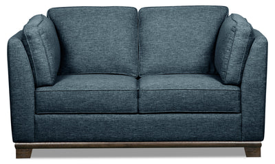 Oakdale Linen-Look Fabric Loveseat - Blue - {Contemporary} style Loveseat in Blue {Pine}, {Plywood}