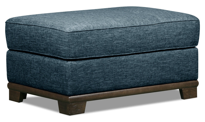 Oakdale Linen-Look Fabric Ottoman - Blue - {Contemporary} style Ottoman in Blue {Pine}, {Plywood}
