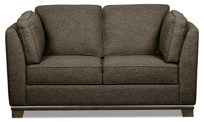 Oakdale Linen-Look Fabric Loveseat - Charcoal|Causeuse Oakdale en tissu d'apparence lin - anthracite|OAK2CCLV