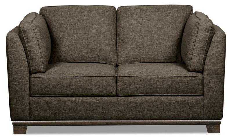 Oakdale Linen-Look Fabric Loveseat - Charcoal|Causeuse Oakdale en tissu d'apparence lin - anthracite