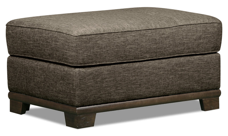Oakdale Linen-Look Fabric Ottoman - Charcoal - {Contemporary} style Ottoman in Charcoal {Pine}, {Plywood}