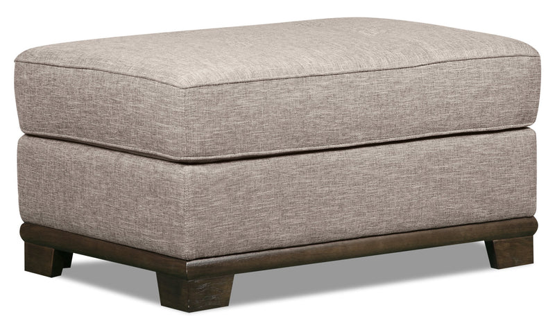 Oakdale Linen-Look Fabric Ottoman - Mushroom - {Contemporary} style Ottoman in Mushroom {Pine}, {Plywood}