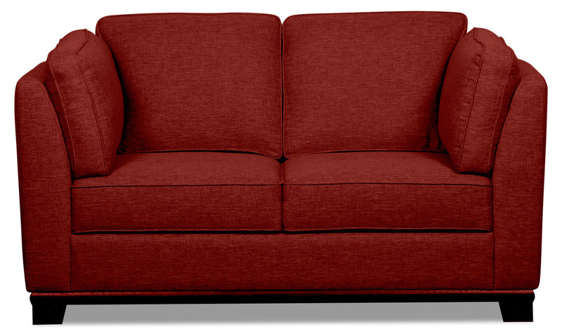 Oakdale Linen-Look Fabric Loveseat - Red - {Contemporary} style Loveseat in Red {Pine}, {Plywood}
