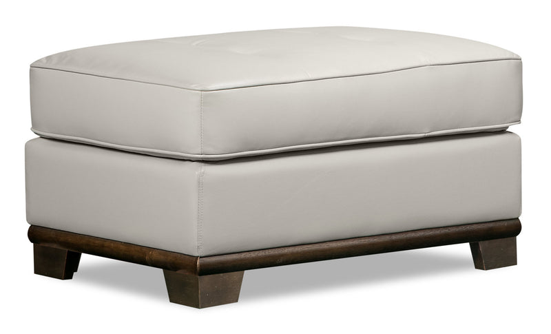 Oakdale Leather-Look Fabric Ottoman - Beige - {Contemporary} style Ottoman in Beige {Pine}, {Plywood}