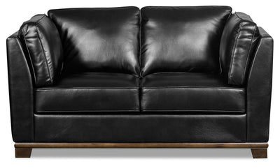 Oakdale Leather-Look Fabric Loveseat - Black|Causeuse Oakdale en tissu d'apparence cuir - noire|OAKLBKLV