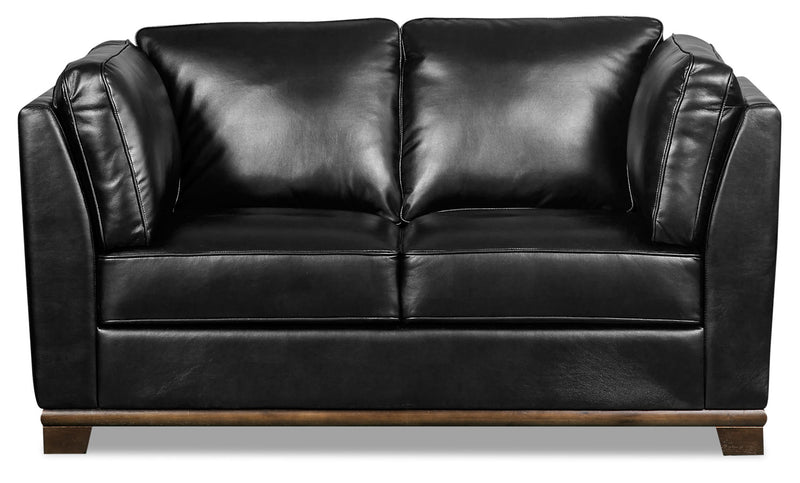 Oakdale Leather-Look Fabric Loveseat - Black - {Contemporary} style Loveseat in Black {Pine}, {Plywood}