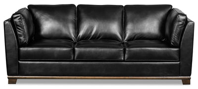 Oakdale Leather-Look Fabric Sofa - Black|Sofa Oakdale en tissu d'apparence cuir - noir|OAKLBKSF