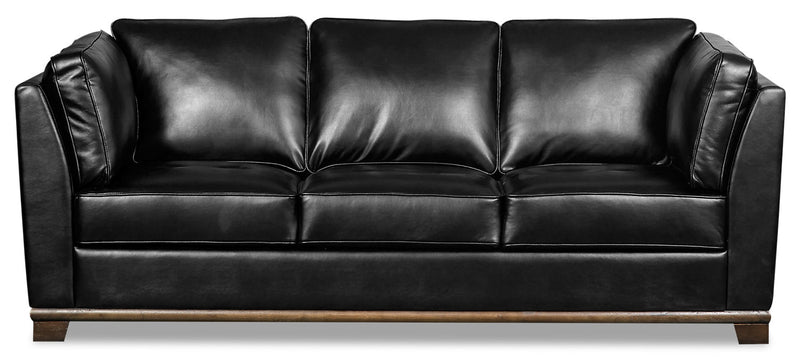 Oakdale Leather-Look Fabric Sofa - Black - {Contemporary} style Sofa in Black {Pine}, {Plywood}