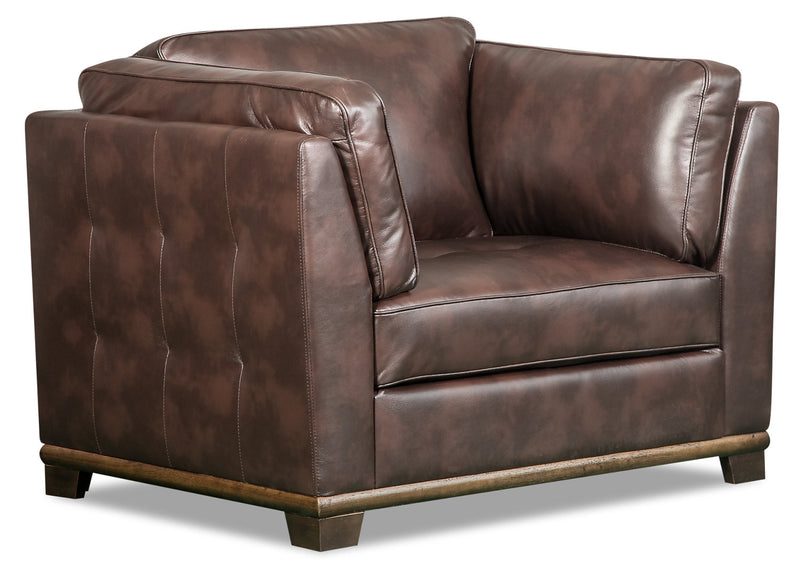 Oakdale Leather-Look Fabric Chair - Brown - {Contemporary} style Chair in Brown {Pine}, {Plywood}