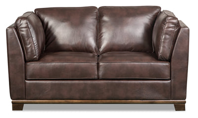 Oakdale Leather-Look Fabric Loveseat - Brown|Causeuse Oakdale en tissu d'apparence cuir - brune|OAKLBRLV