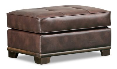 Oakdale Leather-Look Fabric Ottoman - Brown|Pouf Oakdale en tissu d'apparence cuir - brun|OAKLBROT