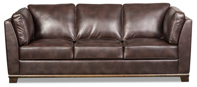 Oakdale Leather-Look Fabric Sofa - Brown|Sofa Oakdale en tissu d'apparence cuir - brun|OAKLBRSF