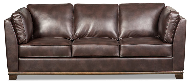 Oakdale Leather-Look Fabric Sofa - Brown - {Contemporary} style Sofa in Brown {Pine}, {Plywood}