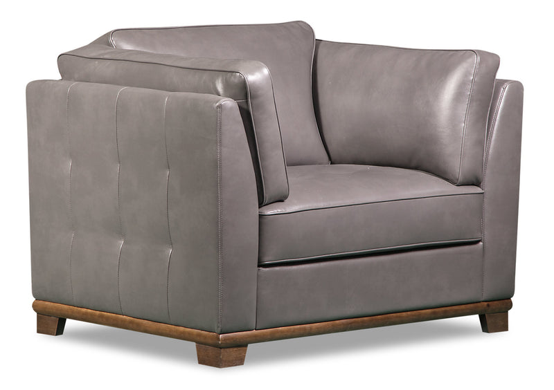 Oakdale Leather-Look Fabric Chair - Grey - {Contemporary} style Chair in Grey {Pine}, {Plywood}