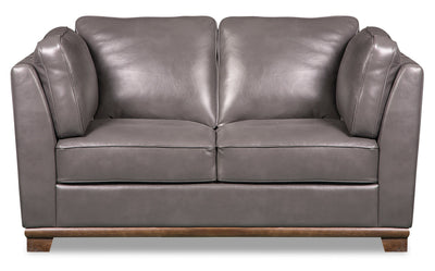 Oakdale Leather-Look Fabric Loveseat - Grey|Causeuse Oakdale en tissu d'apparence cuir - grise|OAKLGYLV