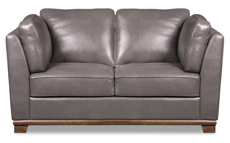 Oakdale Leather-Look Fabric Loveseat - Grey - {Contemporary} style Loveseat in Grey {Pine}, {Plywood}