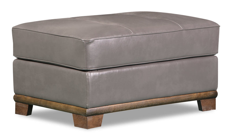 Oakdale Leather-Look Fabric Ottoman - Grey - {Contemporary} style Ottoman in Grey {Pine}, {Plywood}