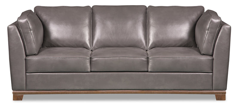 Oakdale Leather-Look Fabric Sofa - Grey - {Contemporary} style Sofa in Grey {Pine}, {Plywood}