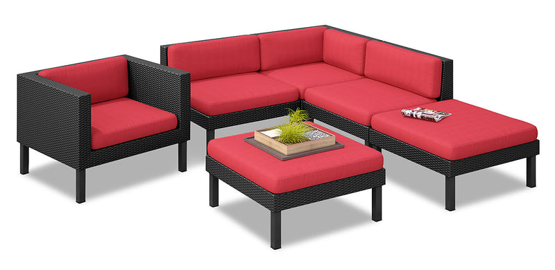 Oakland 6-Piece Patio Conversation Set – Red|Ensemble de conversation Oakland 6 pièces pour la terrasse - rouge