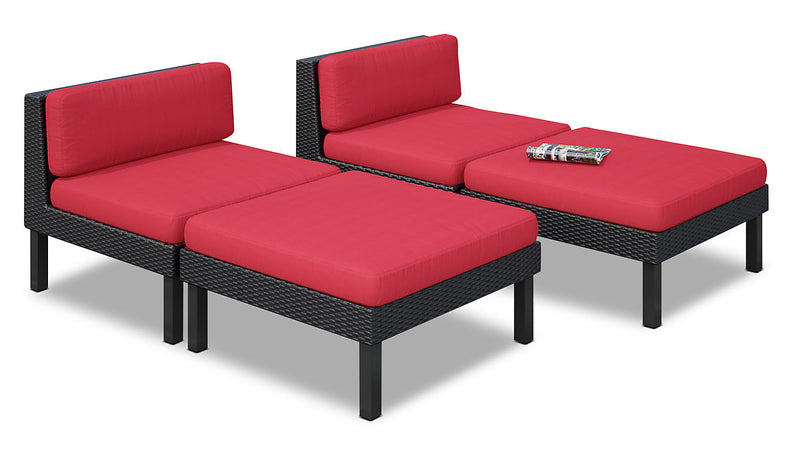Oakland 4-Piece Lounger Set – Red|Ensemble de détente Oakland 4 pièces - rouge