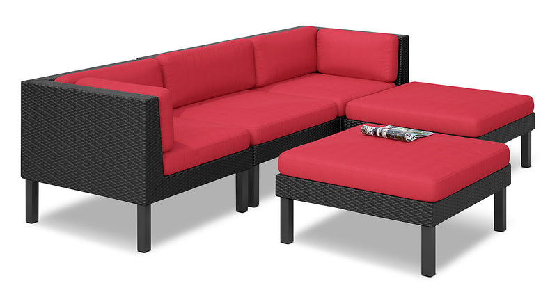 Oakland 5-Piece Patio Sectional – Red|Sofa sectionnel Oakland 5 pièces pour la terrasse - rouge