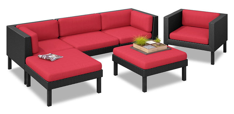 Oakland 6-Piece Patio Sectional – Red|Sofa sectionnel Oakland 6 pièces pour la terrasse - rouge