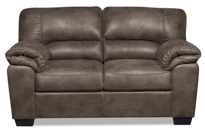Odin Faux Suede Loveseat - Grey - {Contemporary} style Loveseat in Grey {Plywood}, {Solid Woods}