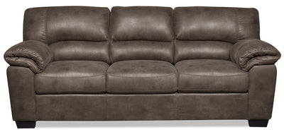 Odin Faux Suede Sofa - Grey - {Contemporary} style Sofa in Grey {Plywood}, {Solid Woods}