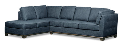 Oakdale 2-Piece Linen-Look Fabric Left-Facing Queen-Size Sofa Bed Sectional - Blue|Grand sofa-lit sectionnel de gauche Oakdale 2 pièces en tissu d'apparence lin - bleu|OK2BLLQ2