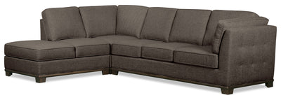 Oakdale 2-Piece Linen-Look Fabric Left-Facing Queen-Size Sofa Bed Sectional - Charcoal|Grand sofa-lit sectionnel de gauche Oakdale 2 pièces en tissu d'apparence lin - anthracite|OK2CCLQ2