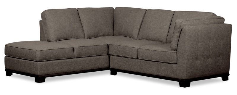 Oakdale 2-Piece Linen-Look Fabric Left-Facing Twin-Size Sofa Bed Sectional - Charcoal