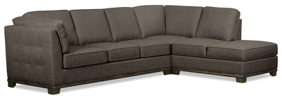 Oakdale 2-Piece Linen-Look Fabric Right-Facing Queen-Size Sofa Bed Sectional - Charcoal|Grand sofa-lit sectionnel de droite Oakdale 2 pièces en tissu d'apparence lin - anthracite|OK2CCRQ2