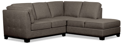 Oakdale 2-Piece Linen-Look Fabric Right-Facing Sectional - Charcoal|Sofa sectionnel de droite Oakdale 2 pièces en tissu d'apparence lin - anthracite|OK2CCRS2