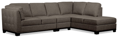 Oakdale 3-Piece Linen-Look Fabric Right-Facing Sectional - Charcoal
